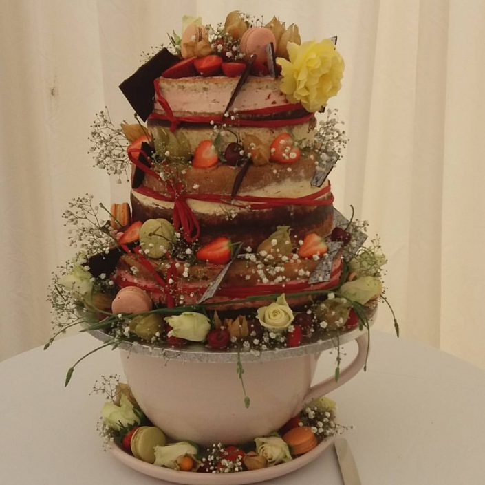 "alt=""Gourmandises Naked Wedding Cake Barrington Hall"""