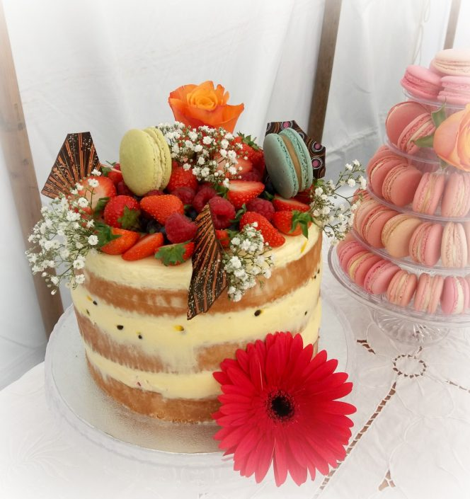 "alt=""semi naked wedding cake Lattenbury Hills"""