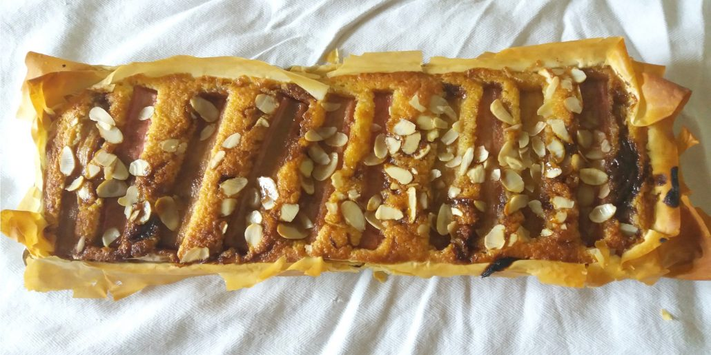 "alt=""rhubarb and frangipane tart in a filo pastry"""