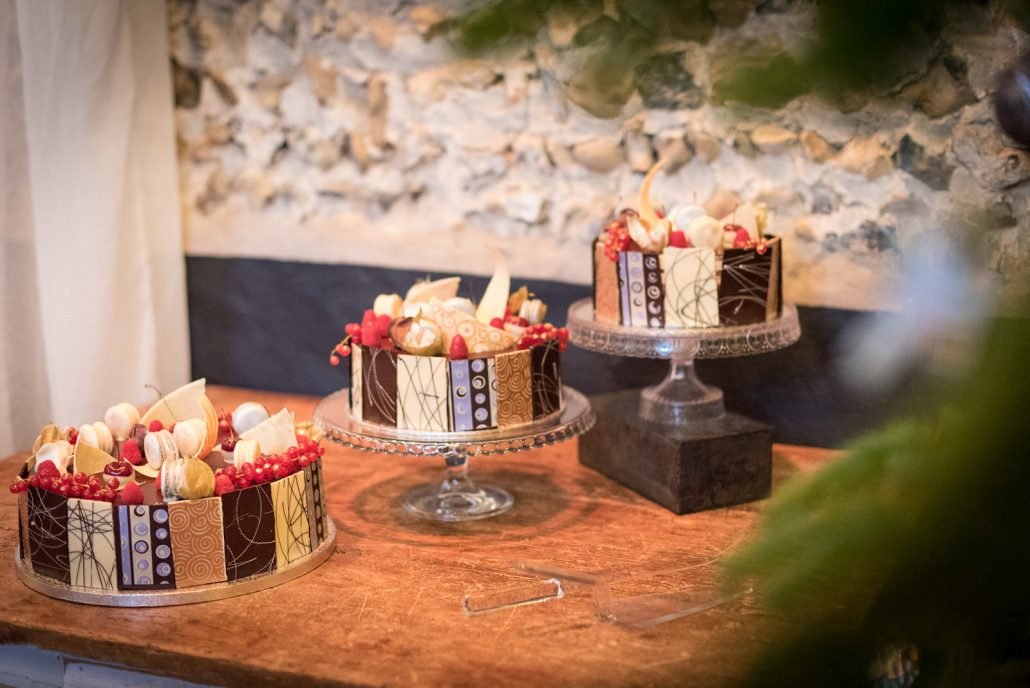 Wedding cake, cascading opera cake, at the Granary Estates, © James McGrillis Photography